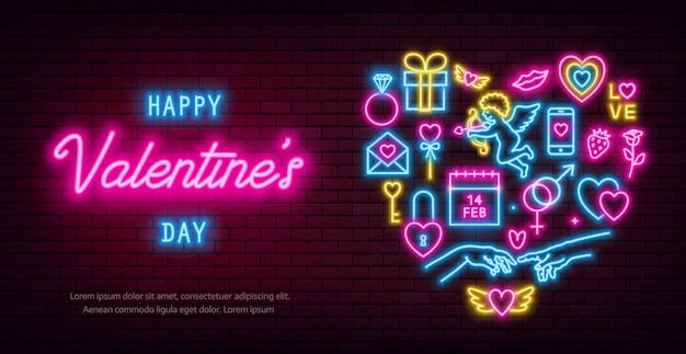 Valentine's day neon baner, flyer, poster, greeting card. valentine day neon signs on brick wall background.