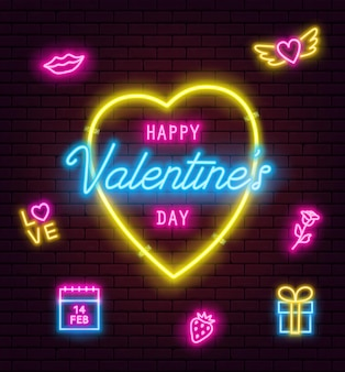 Valentine's day neon sign on brick wall background. banner, flyer, poster, greeting card with glowing valentine's day neon signs. vector illustration