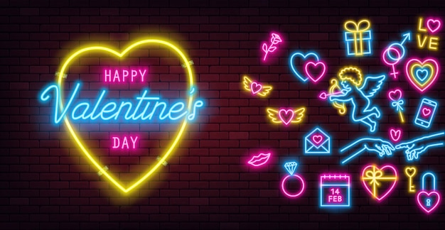 Valentine's day neon sign on dark brick wall background and glowing neon signs.