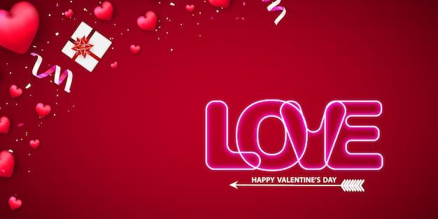 Valentine's day neon text on background.