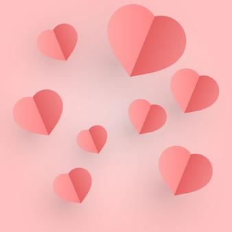 クラフトペーパーデザインのバレンタインデー、ピンクのハートが含まれています Premiumベクター