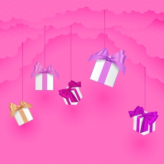 구름에 선물 종이 스타일 구름의 발렌타인 데이. 종이 컷 스타일. 핑크 그림.