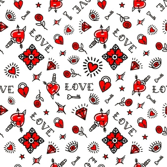 Valentine's day in old school style seamless pattern. vector illustration. design for valentine's day, stilts, wrapping paper, packaging, textiles