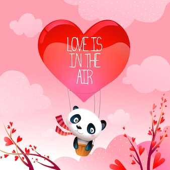 Valentine's day panda bear in rising hot air love balloon vector illustration