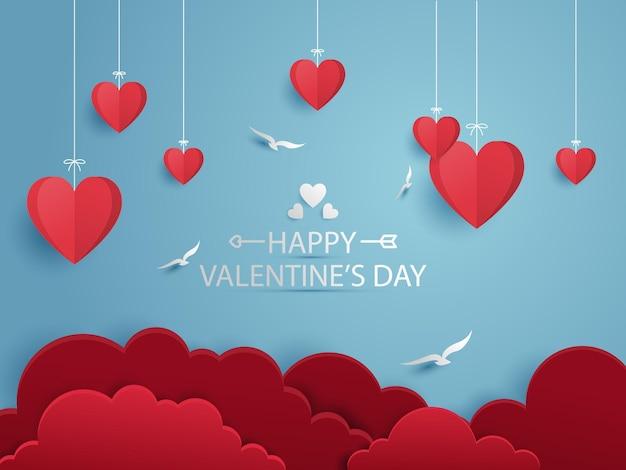 Valentine's day paper cut illustration