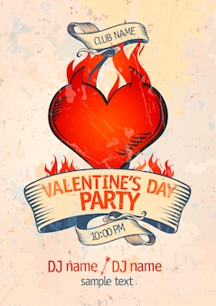 Valentine`s day party design template with burning heart