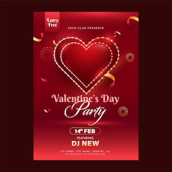 Valentine's day party flyer design with event details in red color