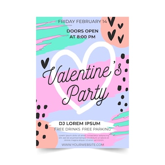 Valentine's day party flyer flat design