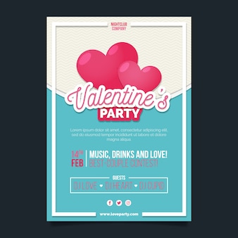 Valentine's day party flyer flat design