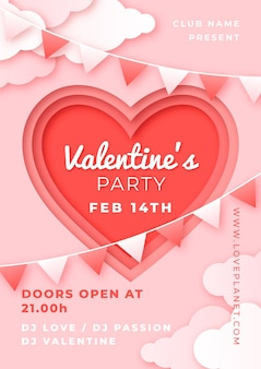Valentine's day party flyer in paper style