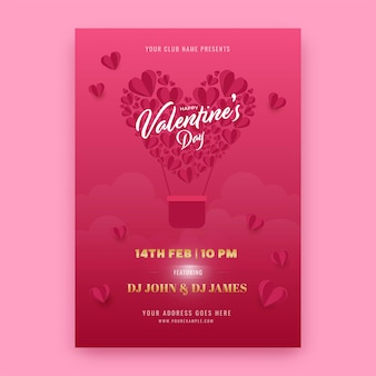 Valentine's day party flyer or template design with event details.