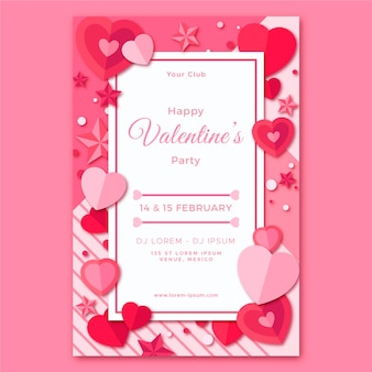 Valentine's day party flyer template in flat design
