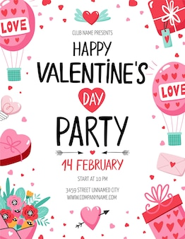 Valentine's day party flyer with ballons, hearts and other elements. vector illustration