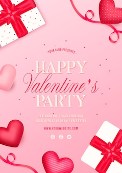 Valentine's day party flyer with gifts and hearts