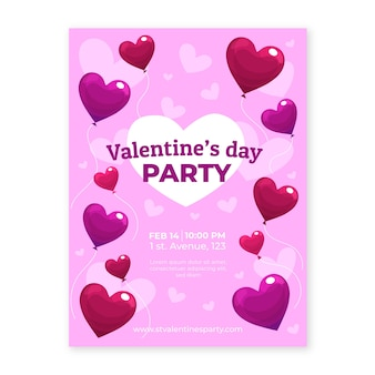 Valentine's day party flyer with heart shaped balloons