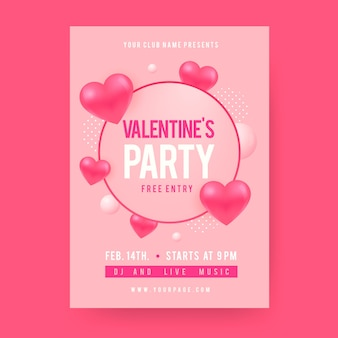 Valentine's day party poster flat design template
