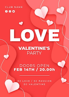 Valentine's day party poster in paper style