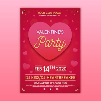 평면 디자인의 발렌타인 파티 포스터 템플릿