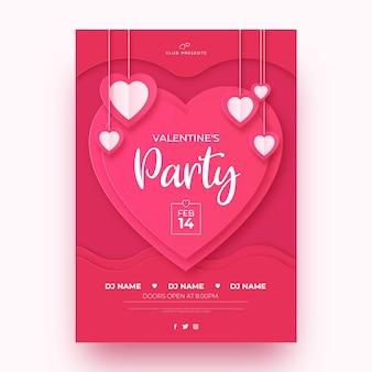 Valentine's day party poster template in paper style