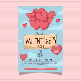 Valentine's day party poster with heart shaped balloons