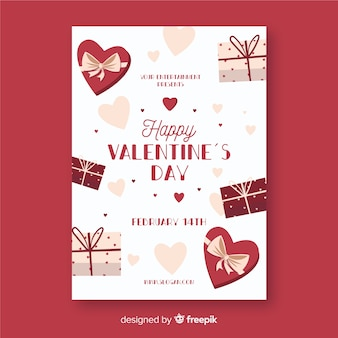 Valentine's day party presents poster template
