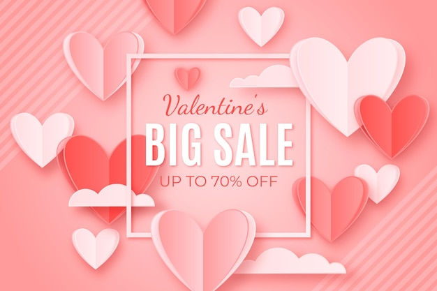 Valentine's day party sale in paper style
