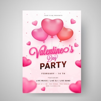 Valentine's day party template or flyer design decorated with gl