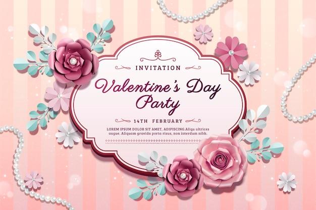 3dイラストの紙の花の装飾とバレンタインデーのパーティー