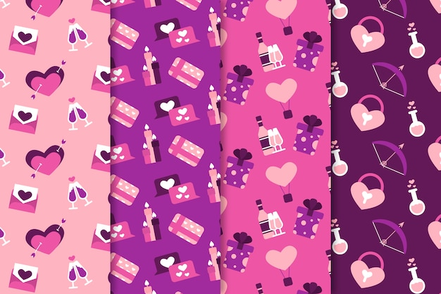 Valentine's day pattern collection flat design style