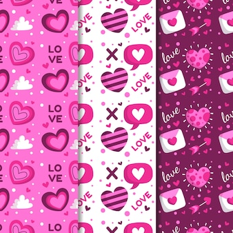 Valentine's day pattern collection in flat design style