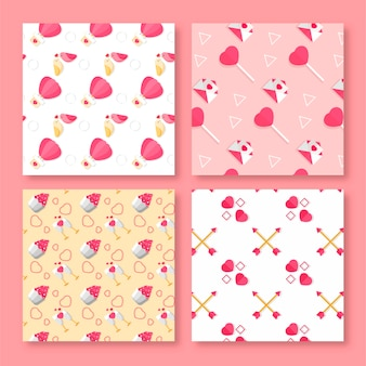 Valentine's day pattern collection flat design