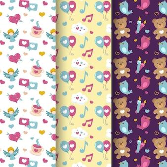 발렌타인 패턴 컬렉션 평면 디자인