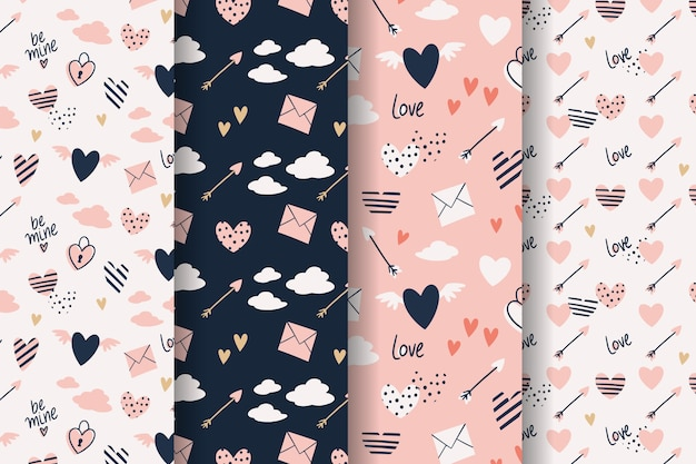 Valentine's day pattern collection hand drawn style