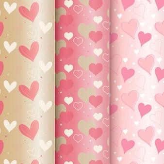 평면 디자인의 발렌타인 패턴 컬렉션