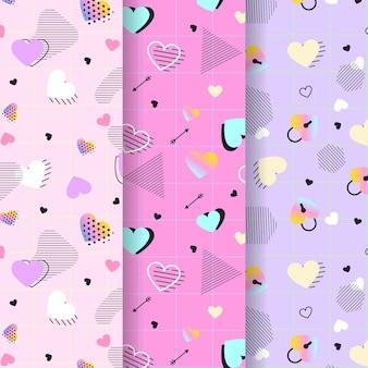 フラットなデザインのバレンタインデーのパターンコレクション
