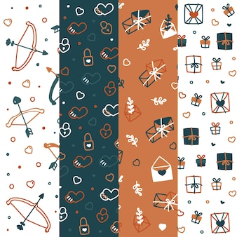 Valentine's day pattern collection with bows and arrows