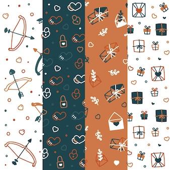 Collezione di pattern di san valentino con fiocchi e frecce