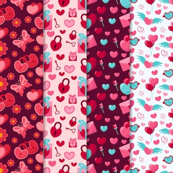 Valentine's day pattern collection with butterflies and locks