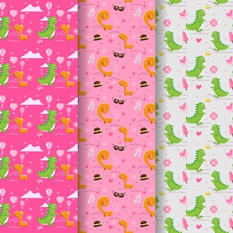 Valentine's day pattern collection with couple cute dinosaurs