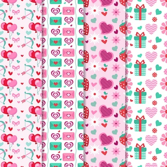 Valentine's day pattern collection with gifts and balloons