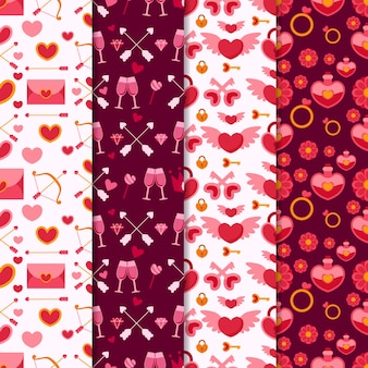 Valentine's day pattern collection with glasses and envelopes