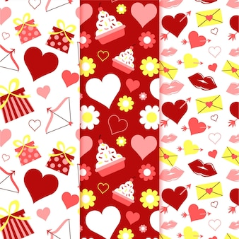 발렌타인 패턴 설정 평면 디자인