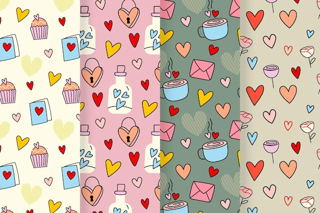 Valentine's day pattern set with drawings