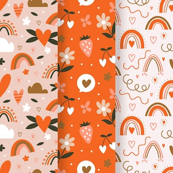 Valentine's day pattern set with illustrations