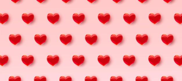 3d赤いハートとバレンタインデーのパターン