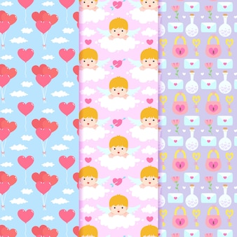 Valentine's day pattern with cupids and hearts