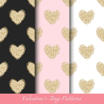 Valentine's day patterns with golden hearts