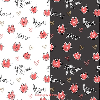 Valentine's day patterns with hand-drawn mouths