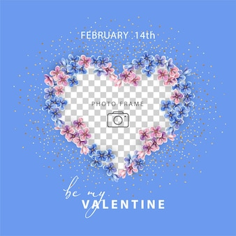 Valentine's day. photo frame in the shape of a heart edged by small pink and blue flowers