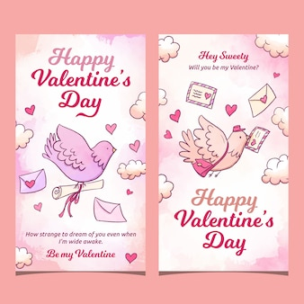Valentine's day pigeon carrying letters banners